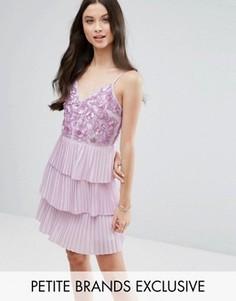 Платье мини с ярусной плиссированной юбкой Maya Petite - Фиолетовый