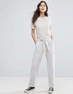 Льняные брюки в полоску с поясом на талии YMC - Белый