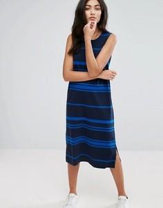 Трикотажное цельнокройное платье в полоску YMC - Темно-синий