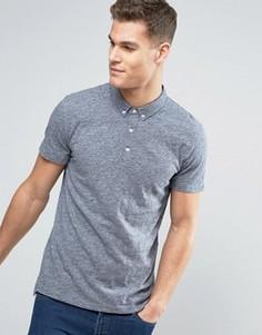 Облегающая футболка-поло на пуговицах из темно-синей меланжевой ткани Minimum Delgany - Темно-синий