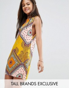 Цельнокройное платье без рукавов с ярким принтом пейсли Glamorous Tall - Мульти