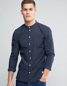 Темно-синяя облегающая рубашка в стиле ретро в полоску Minimum Justo - Темно-синий