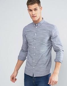 Темно-синяя рубашка на пуговицах из меланжевой ткани в полоску Minimum Miro - Темно-синий