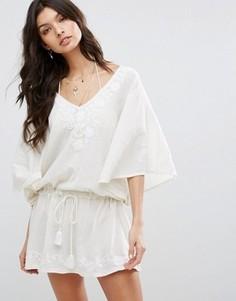 Платье-туника с вышивкой Star Mela Carla - Белый
