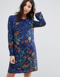 Цельнокройное платье с принтом и завязкой у горловины Lavand - Синий