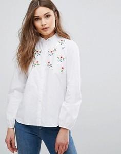 Рубашка с цветочной вышивкой New Look - Белый