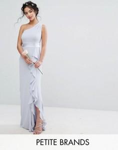 Платье макси на одно плечо с рюшами TFNC Petite Wedding - Синий