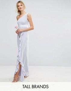 Платье макси на одно плечо с рюшами TFNC Tall - Синий