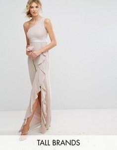Платье макси на одно плечо с рюшами TFNC Tall - Розовый