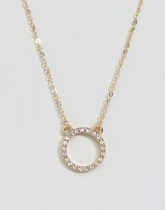 Ожерелье с круглой подвеской DesignB - Золотой