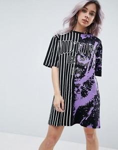 Платье-футболка с комбинированным принтом ASOS - Черный