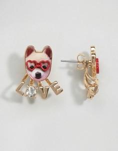 Серьги-гвоздики с собакой и надписью Love Monki - Мульти