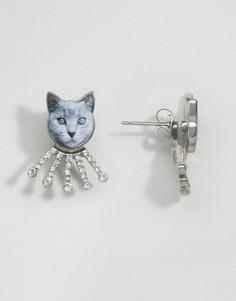 Серьги-гвоздики с котами Monki - Мульти
