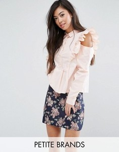 Рубашка с оборками на плечах Fashion Union Petite - Розовый