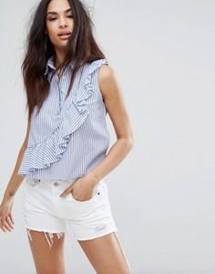 Блузка в полоску с оборками Missguided - Белый