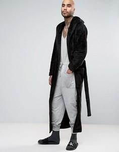Длинный флисовый халат с шалевым воротником ASOS - Черный