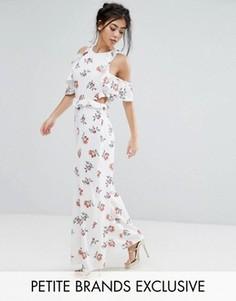 Комбинезон с открытыми плечами и цветочным принтом Fashion Union Petite - Мульти