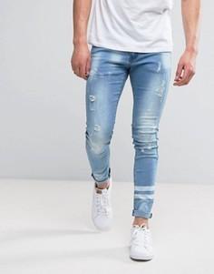 Выбеленные джинсы скинни с полосками Liquor & Poker - Синий