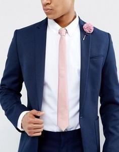 Узкий галстук и булавка на лацкан пиджака ASOS - Розовый
