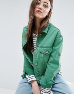 Зеленая укороченная джинсовая куртка с контрастной строчкой ASOS - Зеленый
