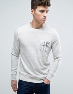 Свитшот с круглым вырезом и принтом на кармане Jack & Jones Originals - Белый