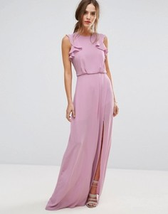Сиреневое платье макси с оборками BCBGMAXAZRIA - Розовый