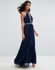 Платье макси с глубоким вырезом и отделкой Lipsy - Темно-синий