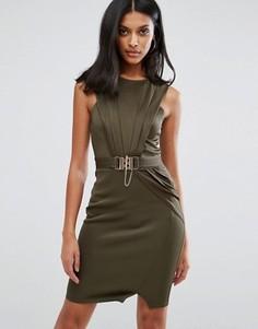 Платье-футляр с пряжкой Lipsy - Зеленый