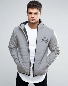 Серая светоотражающая дутая куртка с логотипом Kings Will Dream - Серый