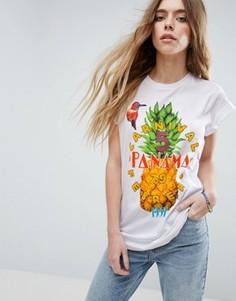 Футболка с ананасом и винтажными нашивками ASOS - Мульти