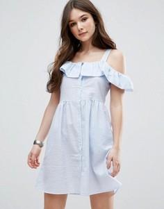Короткое приталенное платье с оборками QED London - Синий
