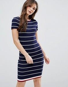 Платье в полоску с короткими рукавами QED London - Темно-синий