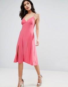Платье-комбинация миди на бретелях ASOS - Розовый