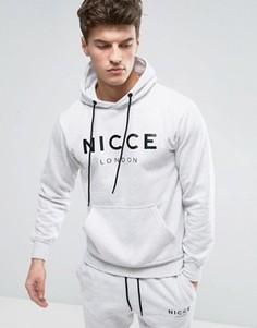 Серое худи с большим логотипом Nicce London - Серый