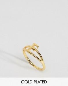 Кольцо с инициалом Е Rock N Rose - Золотой