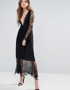 Платье с кружевным верхним слоем Glamorous - Черный