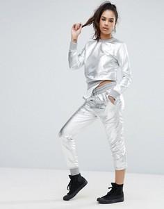 Джоггеры в стиле костюма астронавта Love Moschino - Серебряный