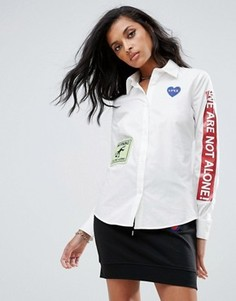 Рубашка с нашивками Love Moschino - Белый