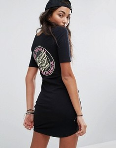 Облегающее платье-футболка с принтом на спине Santa Cruz - Черный