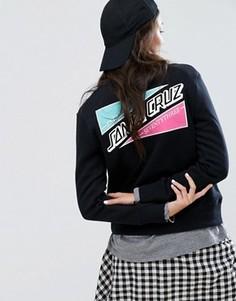 Свитшот бойфренда с вышивкой на спине Santa Cruz - Черный