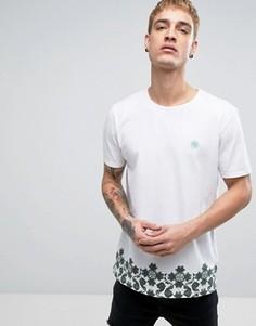 Белая футболка с маленьким логотипом и принтом по краю Pretty Green - Белый