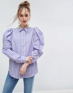 Клетчатая рубашка с объемными плечами ASOS Lilac - Мульти
