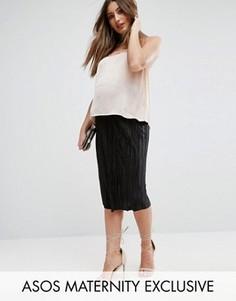 Плиссированная юбка миди с посадкой над животом ASOS Maternity - Черный