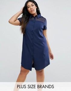 Платье-рубашка с прозрачной вставкой Lovedrobe Plus - Темно-синий