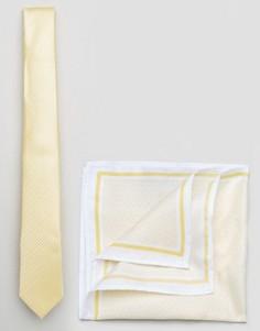 Галстук и платок для нагрудного кармана Burton Menswear - Желтый