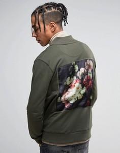 Трикотажный бомбер цвета хаки с цветочным принтом на спине Criminal Damage - Зеленый