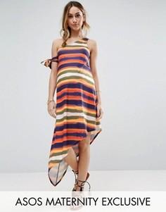 Платье на одно плечо в полоску ASOS Maternity - Мульти