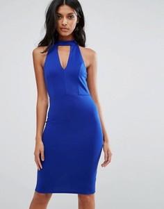 Облегающее платье с глубоким вырезом и чокером Lipsy - Синий