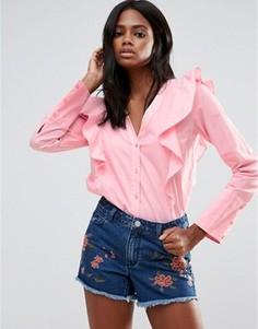 Рубашка с оборкой Vila - Розовый
