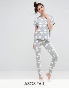Пижамный комплект из футболки и леггинсов с радугой ASOS TALL - Мульти